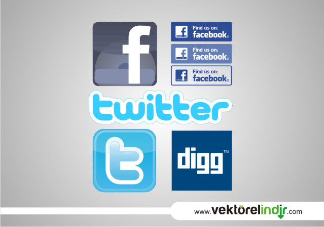Facebook, Twitter, Digg Logo Vektörel