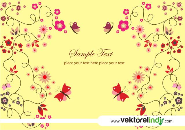 Kelebekler, Çiçekler, Yapraklar Deseni