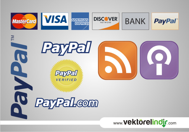 Master Card, Visa, American Express, Paypal, Rss, Discover