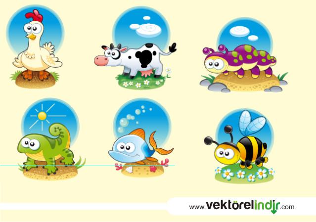 Sevimli Hayvan Karikatürlerü Vektörel