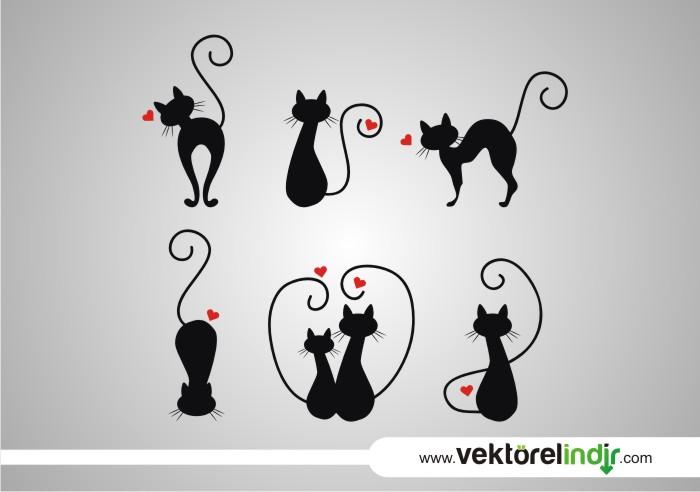 Vektörel Aşık Kedi