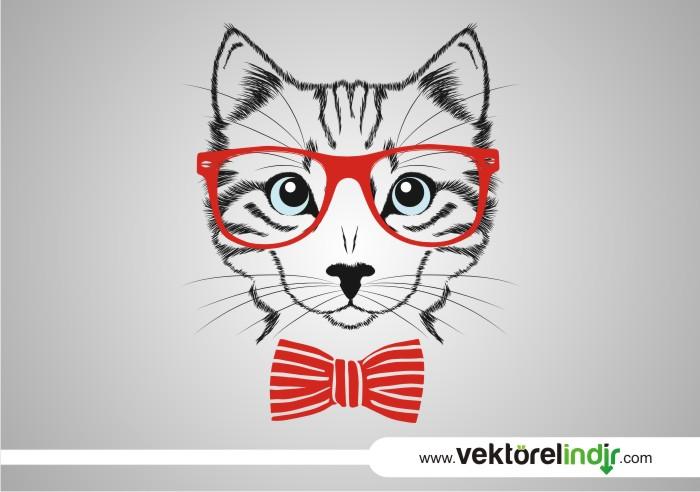 Vektörel Kıravatlı Gözlüklü Kedi
