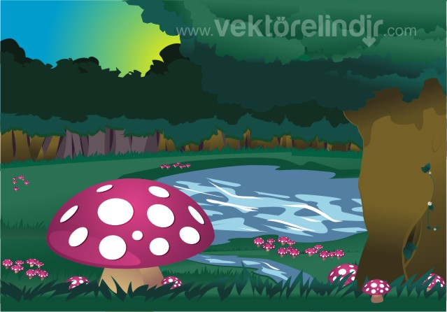 mantar,ağaç,su manzarası
