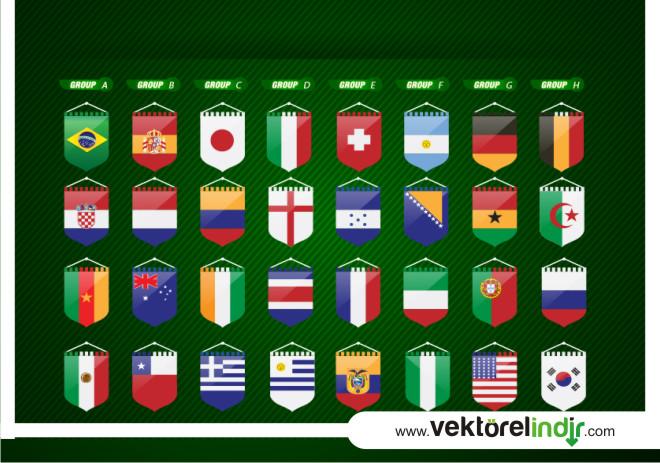vektörel futbol bayraklar