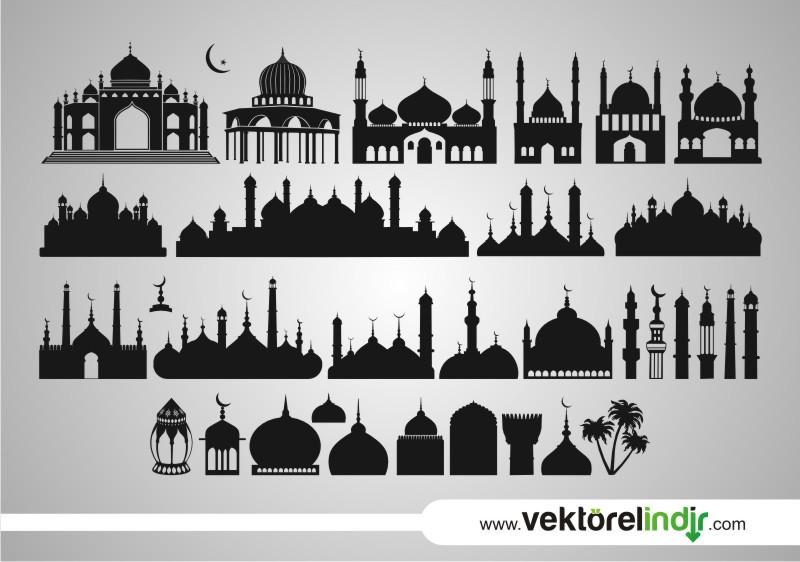 İslami Yapıtlar, Vektörel Cami, Minare, Silület