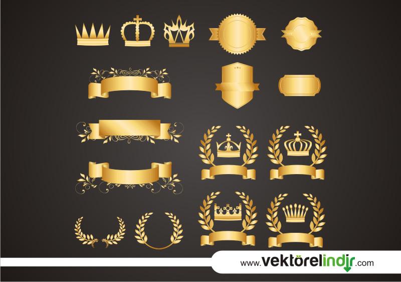 Altın, Bronz, Faset, Çelenk, Çizim, Yaprak, Ribbon