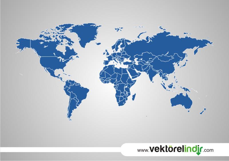 Dünya Haritası, Vektörel Siyasi