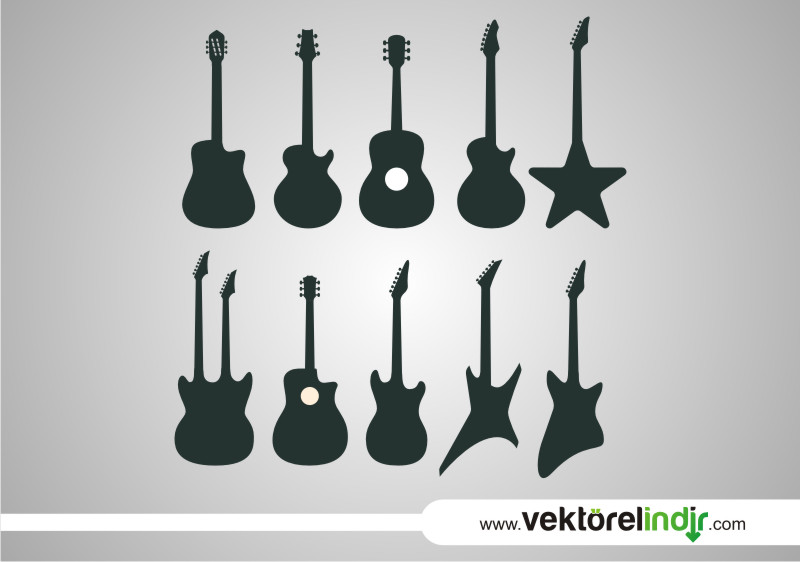 Gitar müzik aleti çizim bateri akustik elektro
