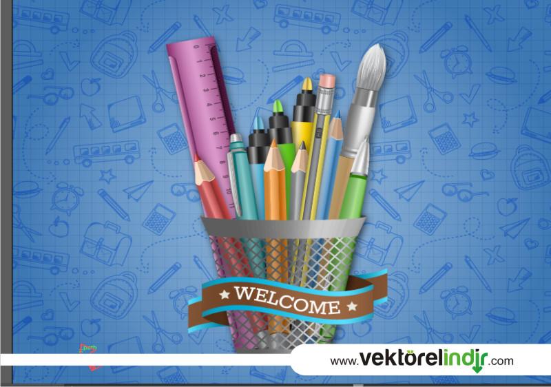 Kalemlik, Okul Malzemeleri, Cetvel Çizim, Kırmızı Kalem