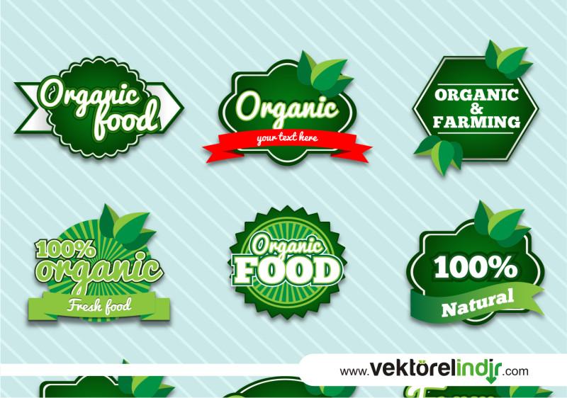 Organik Logo, Tarım, Yaprak, Meyve Sebze
