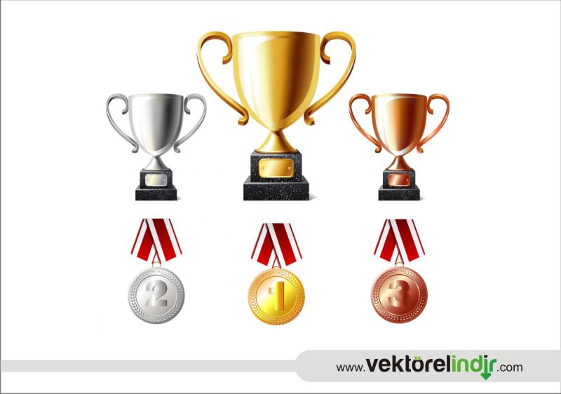 Kupa, Madalyon, Birincilik, Çizim, Grafik