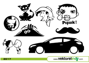 Araba Sticker, Araba Etiket, Vektörel, Araç Çizim, Modifiye
