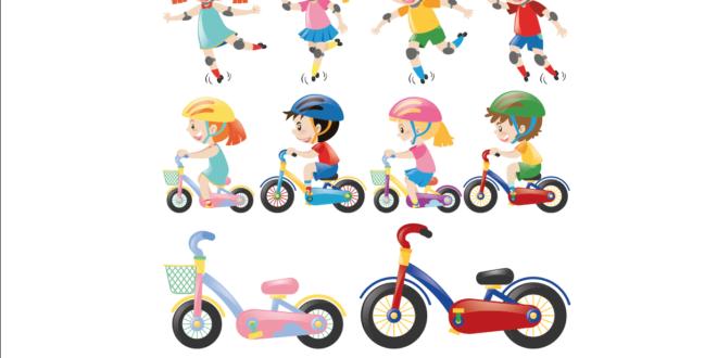 Bisiklet Çocuk, Vektörel, Çocuk Çizim, Paten,Kaykay