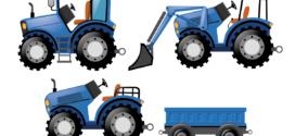 Traktör Vektörel, Mavi Traktör, Vektörel, Mavi Traktör