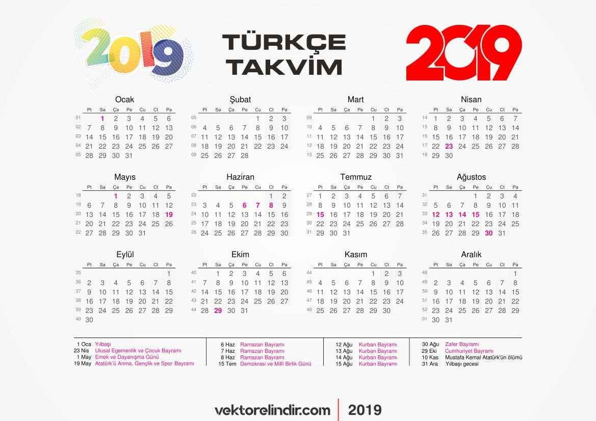 2019 Önemli Günler Takvim Türkçe Vektörel