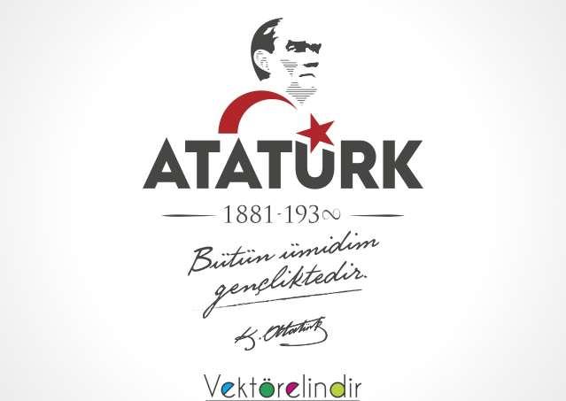 Atatürk Bütün Ümidim Gençliktir. Vektörel