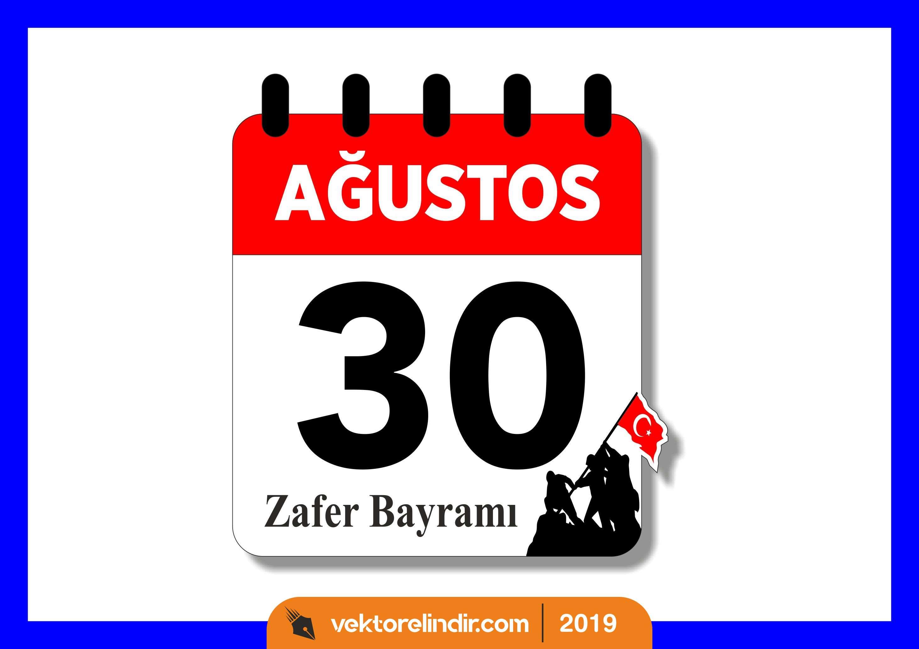 30 Ağustos Zafer Bayramı Vektörel, Takvim
