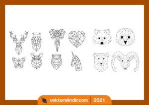 hayvanlar-cizim-tablo-duvar-tipografi-kelebek-geyik-fil-zebra-maymun-kalp-ayı
