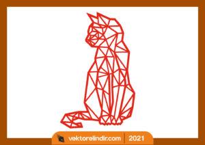 kedi-poligrami-cizim-duvar-süsü-lazer